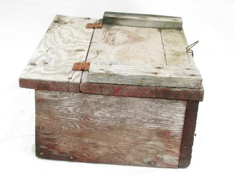 Primitive Antique Vintage Wood Farm Tool Box Original Old Wire Latch