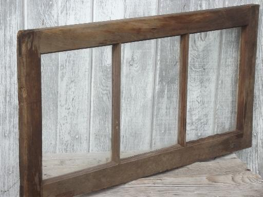 primitive antique wood window frame from old Wisconsin barn or farmhouse