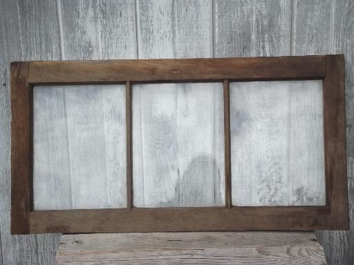 antique wood window frame from old Wisconsin barn or farmhouse