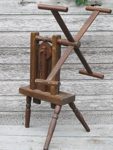 primitive antique wood yarn skein winder w/ mortis & tenon joints