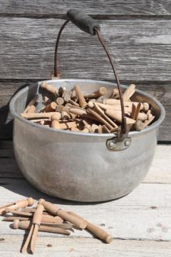 primitive bucket clothespins, 200+ vintage wood clothespins in old jelly kettle