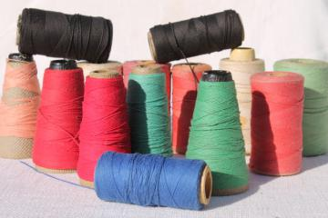 primitive colors vintage cotton string / weaving cord / baker's twine on big spools