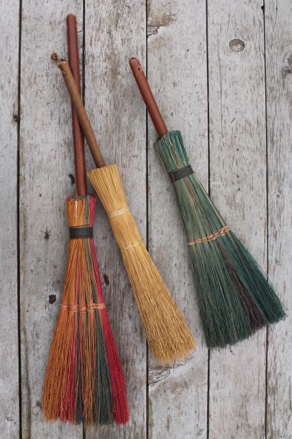 Primitive Corn Broom Collection Vintage Straw Brooms For