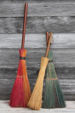 primitive corn broom collection, vintage straw brooms for fall Halloween decoration