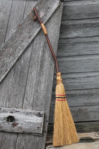 Primitive Corn Whisk Hearth Broom W Rustic Twig Broomstick