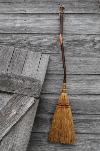 Hearth Broom Rustic Long Handle Fireplace Old Hickory Shaft Primitive Farmhouse Broom