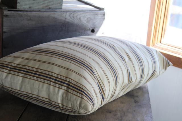 primitive country farmhouse vintage feather pillow, old brown & blue striped cotton ticking