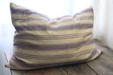 primitive country farmhouse vintage feather pillow, old indigo blue striped cotton ticking
