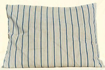 primitive country farmhouse vintage feather pillow, old indigo blue striped cotton ticking