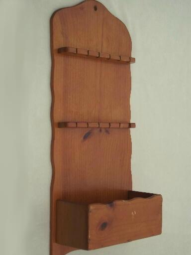 primitive country pine wall box spoon holder, vintage wood spoon rack