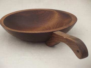 primitive dipper, pine wood bowl w/ stick handle, vintage peanut bowl