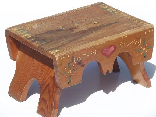 Primitive Folk Art Hand Painted Wood Step Stool, Worn Old Wooden Bench Seat