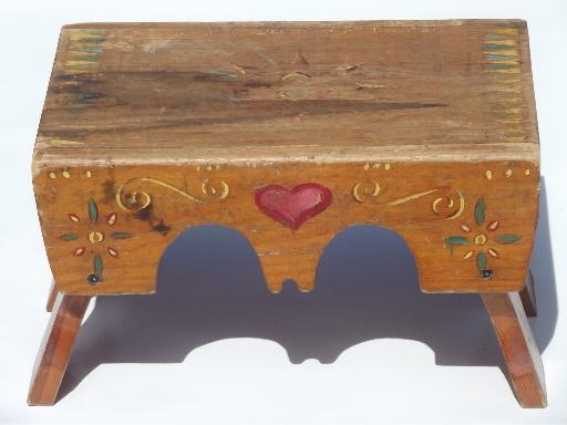 Primitive Folk Art Hand Painted Wood Step Stool Worn Old