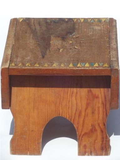 primitive folk art hand-painted wood step stool worn old wooden bench seat & primitive folk art hand-painted wood step stool worn old wooden ... islam-shia.org