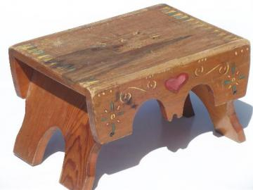 primitive folk art hand-painted wood step stool, worn old wooden bench seat