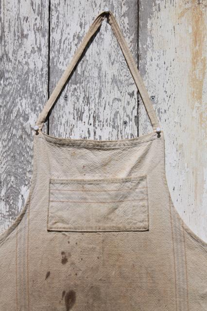 primitive grubby homespun work apron lot, antique vintage cotton flour sack fabric aprons