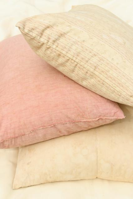 primitive grubby vintage barn red & unbleached cotton pillows, feather filled bed pillows