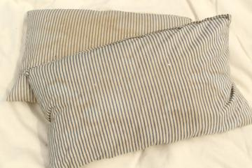 primitive grubby vintage cotton ticking pillows, feather filled bed pillows