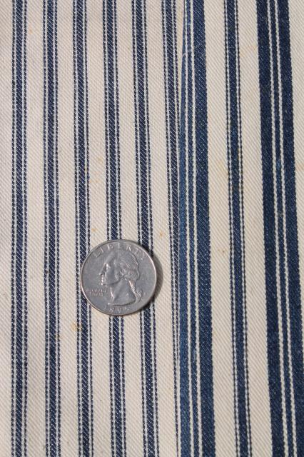primitive heavy cotton ticking scraps, salvaged fabric wide indigo blue striped cloth