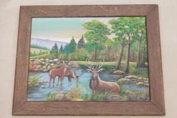 primitive naive art stag deer woodland picture, hand painted original w/ rustic wood frame