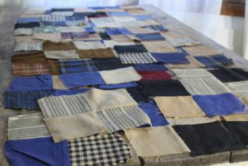 primitive old antique cotton & wool fabric pieced patchwork quilt blocks