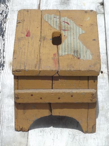 Pumpkin Orange Paint primitive old barn wood stool, vintage stepstool w/ pumpkin orange