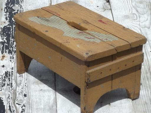 primitive old barn wood stool, vintage stepstool w/ pumpkin orange paint