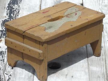 primitive old barn wood stool, vintage stepstool w/ pumpkin orange paint