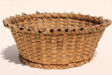 primitive old basket, early 1900s vintage round bowl sewing basket w/ curled border