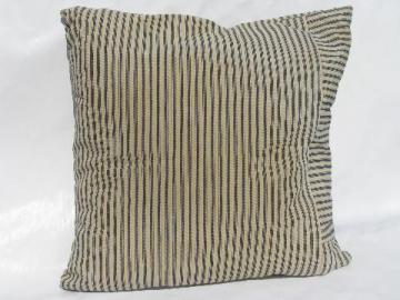 primitive old blue stripe cotton ticking fabric, square shape vintage feather pillow