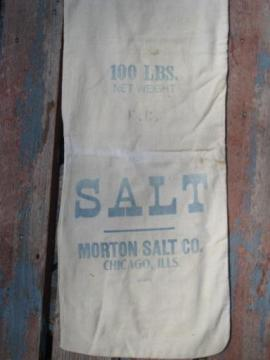 primitive old cotton Morton Salt sack, farm grain feed supplement bag