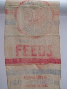 primitive old cotton feedsack kitchen towels, vintage farm feed ad graphics