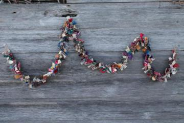 primitive old cotton rag garland, kitchen / keeping room prim decoration