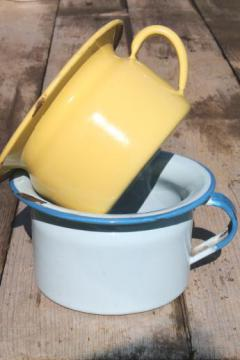 primitive old enamelware baby potty lot, small chamber pot in blue & one in yellow