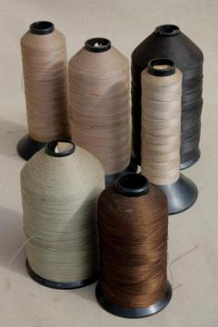 primitive old factory spools of vintage thread, heavy duty industrial sewing thread