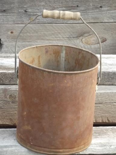 primitive old farm bucket w/ wood handle, rusty steel pail for flower pot
