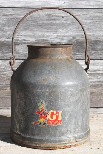 primitive old farm milk bucket, vintage dairy pail milking machine kettle