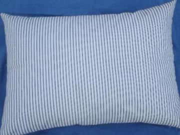 primitive old feather pillow, vintage blue stripe cotton ticking fabric