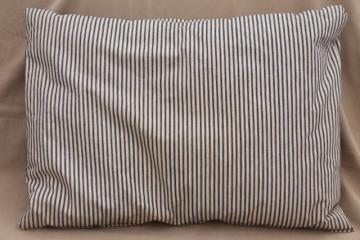 primitive old feather pillow w/ vintage blue stripe cotton ticking fabric