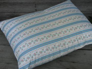 primitive old feather pillow, vintage flowered stripe cotton ticking fabric