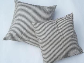 primitive old feather pillows, square shape, indigo blue stripe cotton
