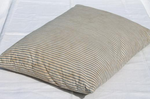 primitive old feather pillows, vintage blue stripe cotton ticking fabric