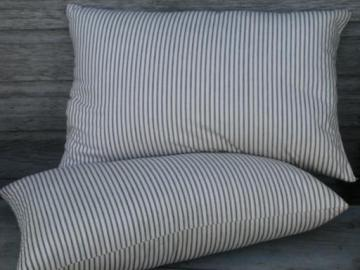 primitive old feather pillows, vintage blue stripe heavy cotton ticking fabric
