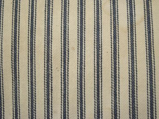 Primitive Old Feather Pillows Vintage Blue Stripe Heavy
