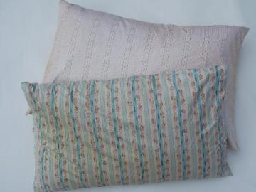 primitive old feather pillows, vintage flowered stripe cotton ticking fabric
