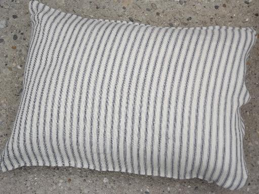 primitive old feather pillows, vintage heavy cotton feed sack fabric