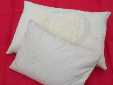 primitive old feather pillows, vintage heavy cotton grain sack fabric
