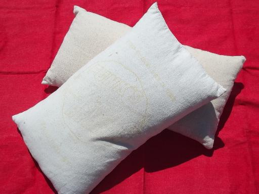 primitive old feather pillows, vintage heavy cotton grain sack fabric