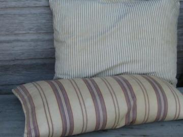 primitive old feather pillows, vintage striped cotton ticking fabric