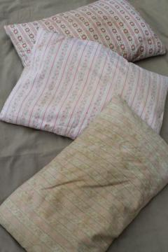 primitive old feather pillows with shabby vintage floral cotton ticking fabric